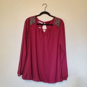 NWT Maurices Beaded Shoulder Top